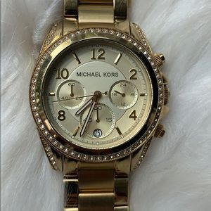 MK Gold watch with crystals excellent condition
